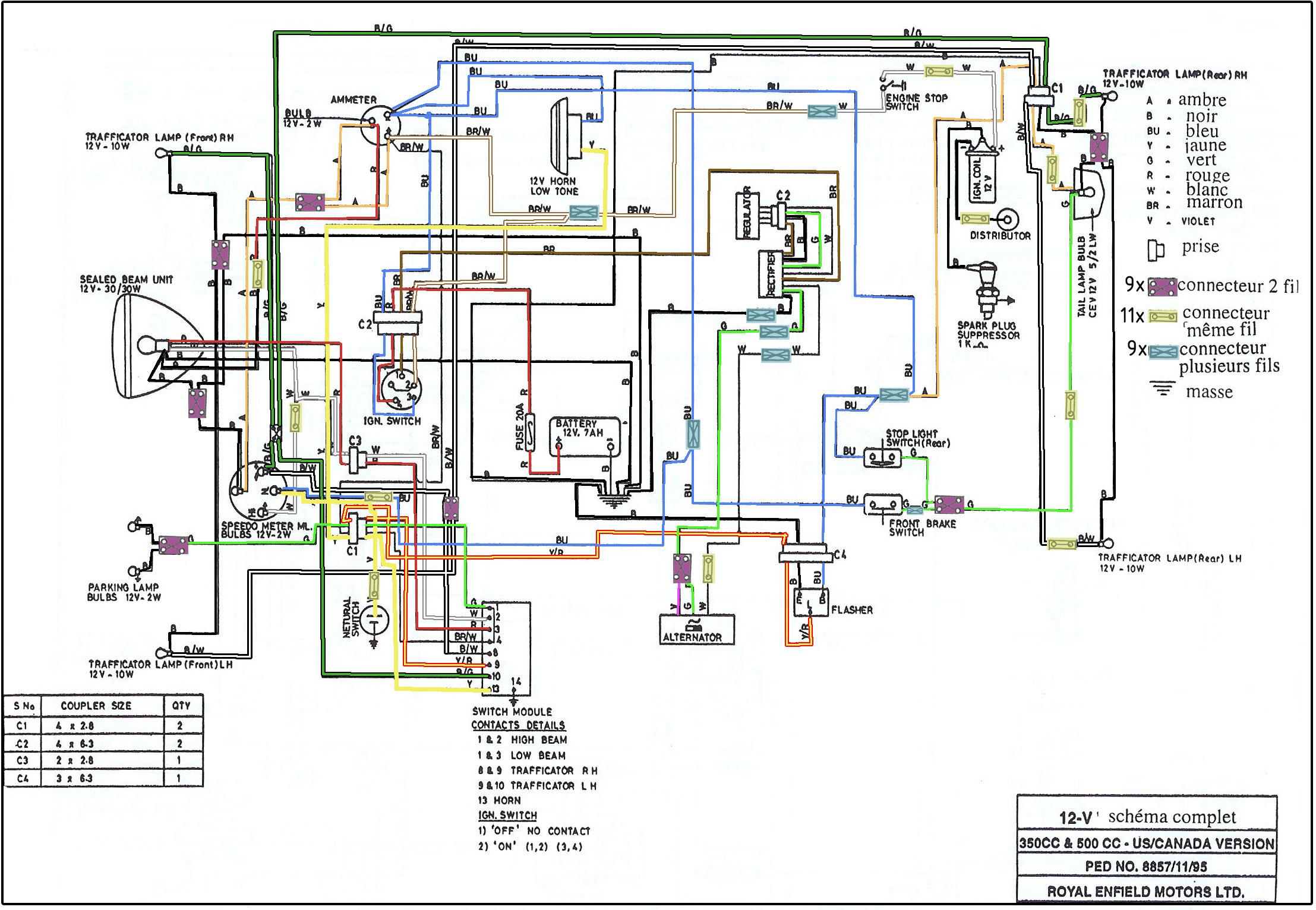 Sch mas lectriques en couleurs royal enfield le site - Code couleur cable electrique ...