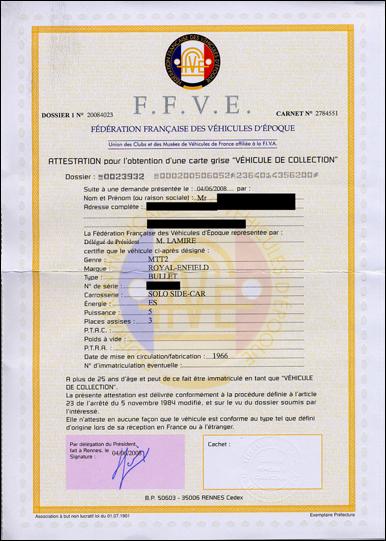 documents nécessaires pour obtenir une carte grise française de collection - Royal Enfield Le Site
